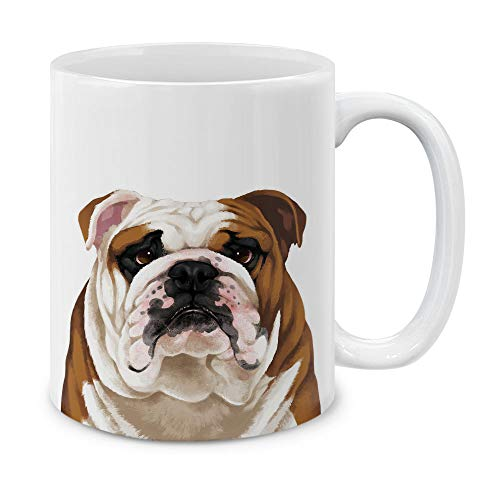 MUGBREW Cute English Bulldog Full Portrait Ceramic Coffee Mug Tea Cup, 11 OZ