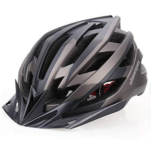 Shinmax Casco Bicicleta con Visera,Certificación CE Ligera Casco Bicicleta,Luz LED Recargable &...