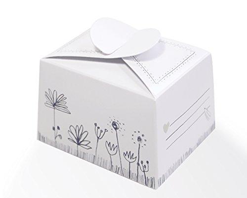 10 kleine Pralinenschachteln, Kartonagen, Kuchenschachteln zum selbst Befüllen - Weiß Grau mit Blumen im Vintage Design, für Süßigkeiten & Gastgeschenke zur Hochzeit, Geburtstag, Konfirmation, Taufe