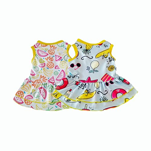 Sebaoyu 2 Pack Dog Dresses for Small Dogs Girl Summer Puppy Clothes Outfit Apparel Female Cute Cat Skirt Pup Tutu Yorkie Clothing Breathable Pet Dress for French Bulldog Chihuahua (AA, X-Small)