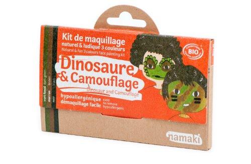 Namaki- Kit 3 Couleurs Dinosaure & Camouflage Bio & Vegan, 110016, Vert foncé, Marron, Noir