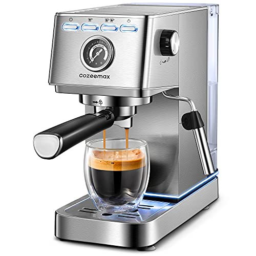 Espresso Machine, 20Bar Compact Espresso and Cappuccino Maker with Milk Frother Wand, Professional Espresso Coffee Machine for Cappuccino and Latte, Stainless Steel