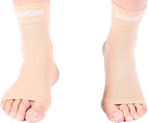 Doc Miller Plantar Fasciitis Compression Ankle Sleeve Anklet Socks for Aching Foot Heel Pain Relief Spurs Achilles Tendonitis Arch Support Eases Swelling Nerve Damage Medical Grade (Skin, Medium)