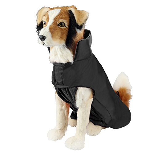 SelfLove Hundemantel aus 100% Wasserdicht Nylon Fleece Futter Jacke Reflektierende Hundejacke Warm Hundemantel Climate Changer Fleece Jacke einfaches An- und Ausziehen(M Schwarz)
