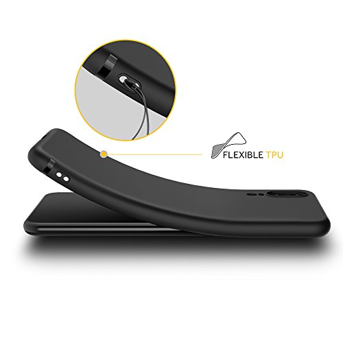 EasyAcc Huawei P20 Hülle Case, Schwarz TPU Telefonhülle Matte Oberfläche Handyhülle Schutzhülle Schmaler Telefonschutz für das Huawei P20 5.8'' - 3