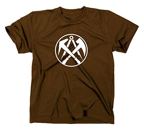 Dachdecker Handwerk Zunft Logo T-Shirt, XL, braun