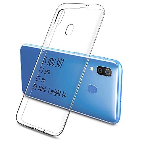 Oihxse Fina Silicona Antigolpes Protectora Funda Compatible con Samsung Galaxy M30/A40S Hermoso Cristal Transparente Slim TPU Antigolpes Cute Texto en Blanco y Negro Adecuado para Niños y Niñas