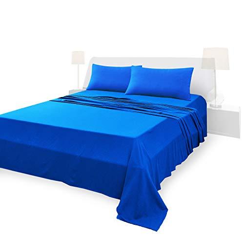 Lenzuola Matrimoniali Completo, Materiale 100% Puro Cotone, Lenzuola e 2 Federe da Letto, Biancheria da Letto Tinta Unita, blu reale