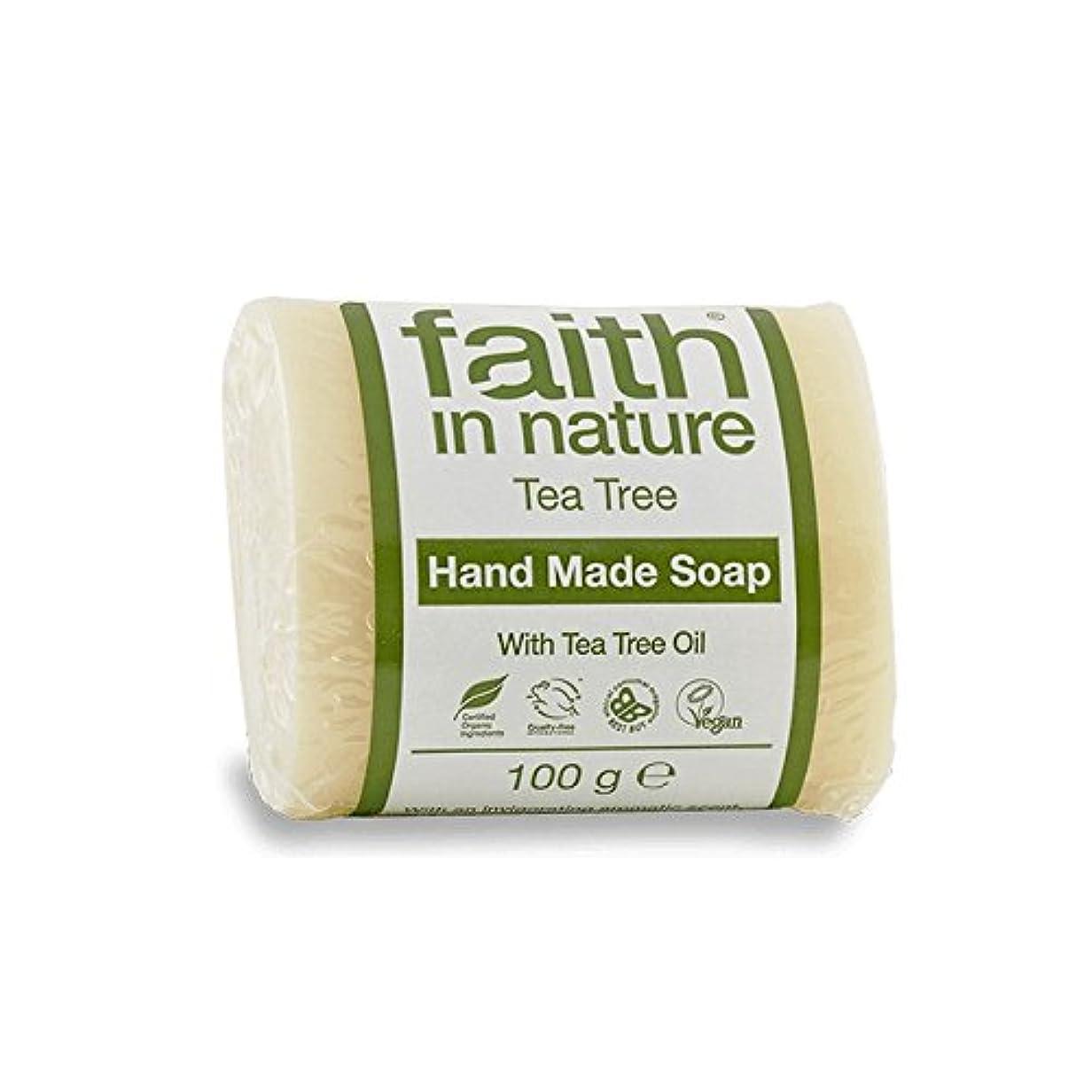 間に合わせ自発的誰でもFaith in Nature Tea Tree Soap 100g (Pack of 6) - 自然のティーツリーソープ100グラムの信仰 (x6) [並行輸入品]