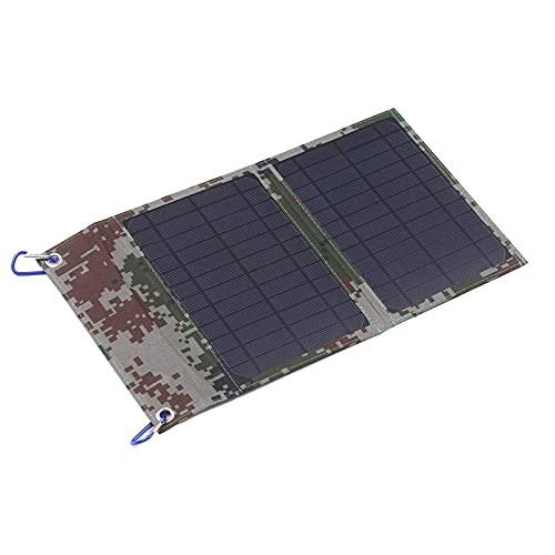 Cargador Solar 1 2W 12V Panel Solar Plegable Monocristalino con Doble USB Salidas Multi Multi Cargador Cable Adaptador Conveniente y Duradero (Color : Black, Size : One Size)