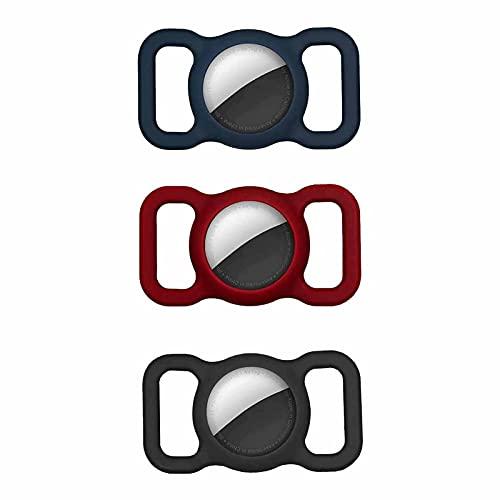 3PCS Verstellbares GPS-Tracking Hundekatze Zubehör, Haustier Silikon Schutzhülle Hundehalsband Halter für Apple Airtag, für Haustier Halsband Kinder ältere Taschen (E)