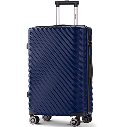 Takefuns Maletas de equipaje duro ligero Spinner 4 ruedas ABS+PC con cerradura Trolley (24, azul