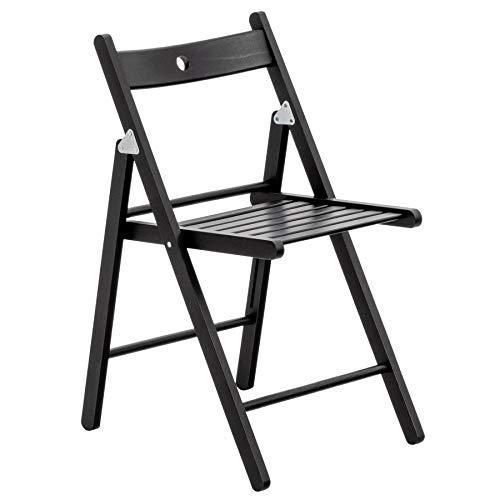 Harbour Housewares Wooden Folding Chair - Black Wood Colour