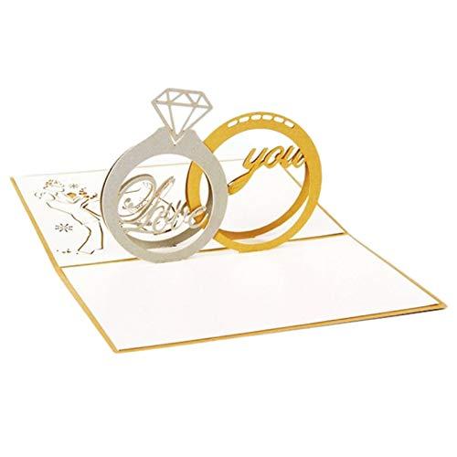 Sweet+ 立体 グリーティング カード メッセージカード 飛び出す ポップアップ 3D 手紙 お祝い 寄せ書き 誕生日 記念日 封筒付き (結婚指輪)