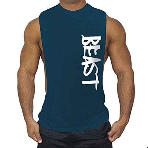 Dazzerake Camiseta de entrenamiento para hombre, de verano, sin mangas, con estampado de letra, para fitness, gimnasio, Bodybuilding azul navy XXL