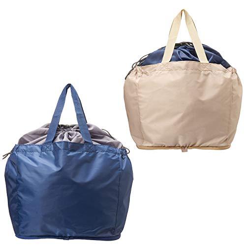 【AOTOBAG】 TVで 洗える レジカゴ マイバッグ 2個セット ( 紺・ベージュ)