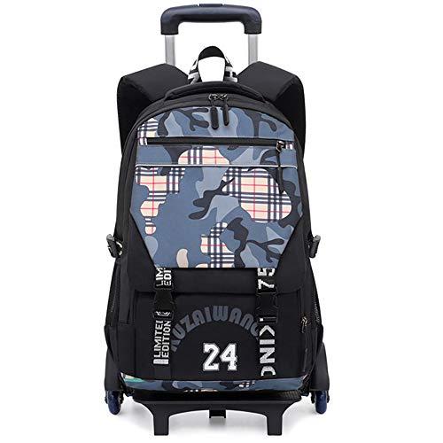 Kids Backpack Trolley Bag-Girls Boys School Bag Camouflage backpack Rolling Backpack with six Wheels, Flash wheel,Suitable for 15.6-inch laptop-grey-Flashwheel