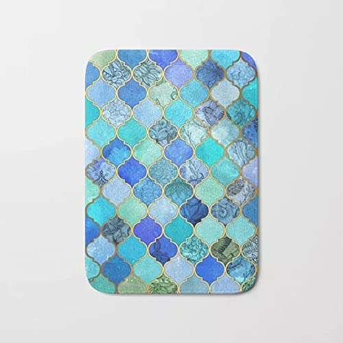 YUZE 60x90 cm Felpudo nórdico Azul Cobalto Aqua Gold Patrón de Azulejos marroquíes Alfombra de baño Piso Antideslizante Alfombra de Puerta Delantera Interior Exterior Alfombras de baño