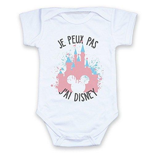 Chamalow Shop Body bébé Je Peux Pas J'Ai Disney Château de Disney Pastel et tête de Mickey Chibi et Kawaii (6/9 Mois)