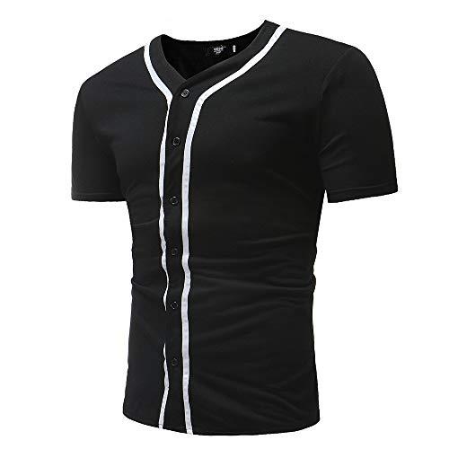 U/A Herren Mode Kurzarm T-Shirt V-Ausschnitt Kurzarm Gr. M, Schwarz