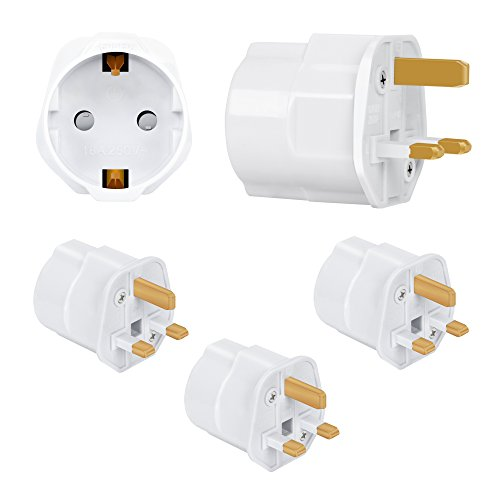 Incutex 3X Reisestecker UK GB England Travel Adapter EU Schuko 2-Pin auf UK 3-Pin Reise Steckdosenadapter Typ G, weiß