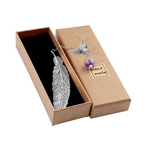 Lishang Marcapáginas de Plumas de Metal Clásicos Marcador de Libro con Mariposa 3D y Colgante de Cuentas de Vidrio de Flores Secas Regalos para Mujeres, Niños, Lectores (Plata)
