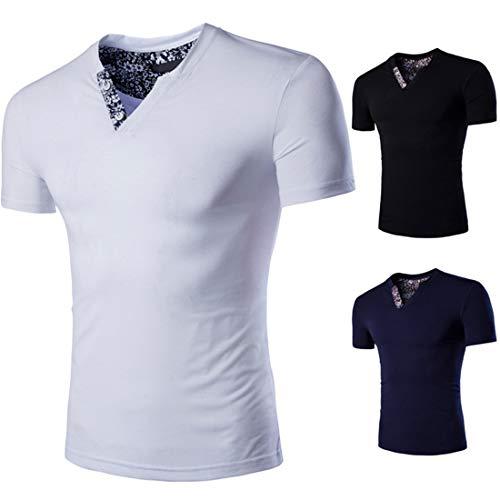 T-Shirt Hombres Verano con Cuello En V Estampado Empalme Hombre Shirt Slim Fit Transpirable Manga Corta Hombres Shirt Ocio Estiramiento Moderno Deporte Moda Hombres Shirt Musculosa A-White 3XL