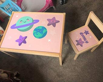 MakeThisMine Ikea LATT - Juego de mesa para niños y 1 silla, diseño de princesa, planetas, estrellas, color rosa