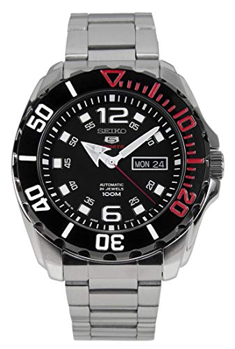 Seiko 5 Sports SRPB35J1 - Reloj automático para hombre (acero inoxidable, esfera negra, 100 m, fabricado en Japón)