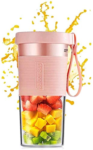 Mini Portable Blender, Juice Shakes Maker Cup with Cup Brush Blender Juicer Safety USB Rechargeable for Home, Sports, Office, Outdoors, Travel Juicer Mixer Cup (Pink)