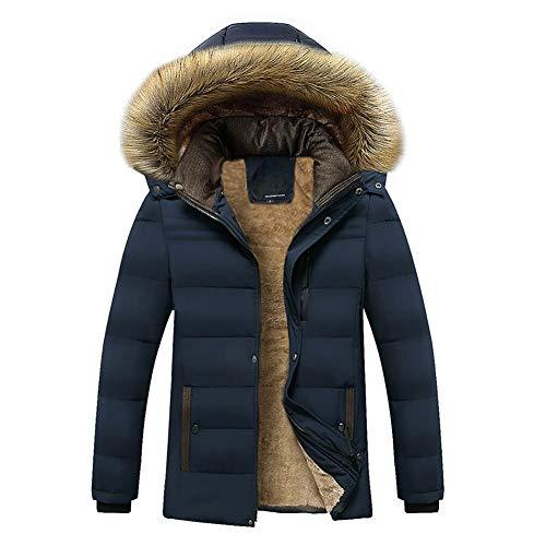 YZY donsjack voor heren, van katoen, warme winterjas met capuchon met afneembare bontkraag voor heren