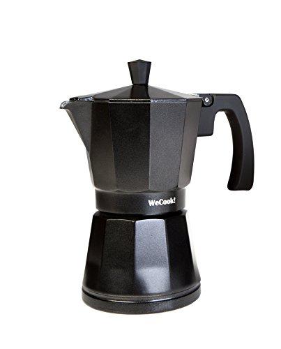 WECOOK! Luccia Cafetera Italiana inducción de aluminio express, 3 tazas café, apta para todas las cocinas, color negro, junta de cierre de silicona, válvula de seguridad