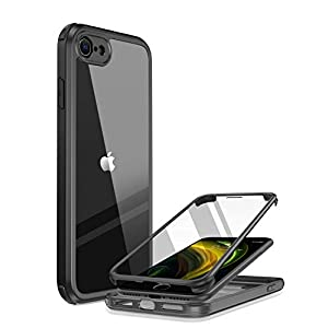 Miracase iPhone SE 用ケース 第2世代 iPhone SE2 用ケース 2020 iPhone 8 用ケース 9H強化ガラス 4.7インチ フルカバー 360°保護 一年保証 黒