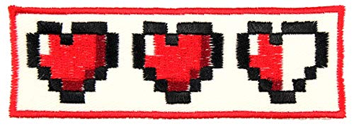 Video Game 8 Bit Heart Patch Iron On Applique - White, Black, Burgundy, Red - 1.5' x 4' Rectangle - Made in The USA