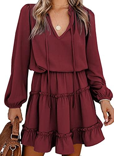 Happy Sailed Womens V Neck Ruffled Layered Chiffon Dress Self Tie Swing Mini Dresses Red XL
