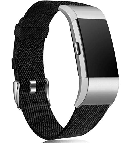 Maledan Compatible with Charge 2 Bands for Women Men, Breathable Woven Fabric Replacement Accessory Strap Compatible with Charge 2 and Charge 2 SE Fitness Activity Tracker, Large, Black