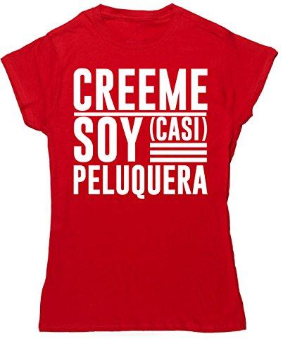 HippoWarehouse Créeme Soy (Casi) Peluquera camiseta manga corta ajustada para mujer
