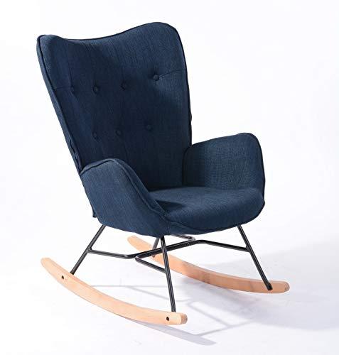 MEUBLE COSY Fauteuil à bascule style Rocking chair - Style Scandinave - Tissu bleu marine - Pieds en véritable bois de hêtre , Bleu Tissu /Bleu foncé Tissu