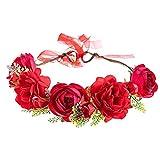 Corona floral rosa, diadema con guirnalda de flores, diadema con guirnalda de flores artificiales para mujer, corona para el cabello, diadema de flores para la fiesta de la boda, rojo