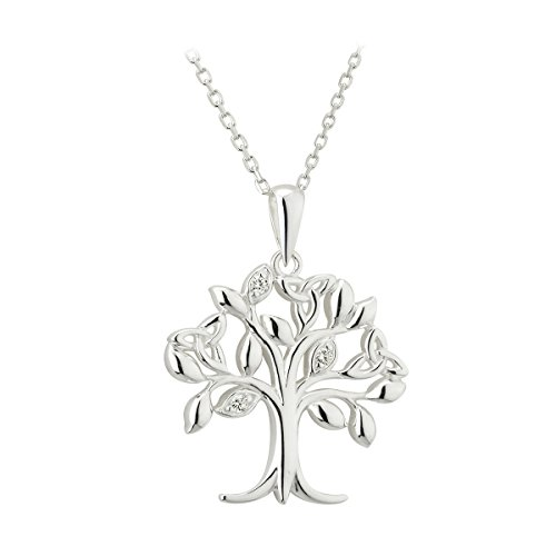 Irish Crystal Tree of Life Sterling Silver Trinity Knots Made in Ireland