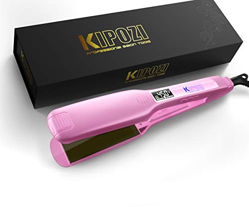 KIPOZI Professional Hair Straightener Flat Iron with Digital Display, Heats Up Fast 1.75 Inch Wide Charming Pink
