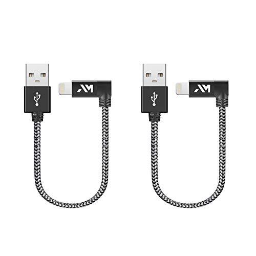 Cavo USB-Lightning Apple, Amazer [ Certificato Apple MFi ] Cavo iPhone Compatibile per iPhone XR/XS/X / 8/7 / 6, Connettore Alluminio, Nylon Intrecciato - Grigio Siderale (20CM*2)