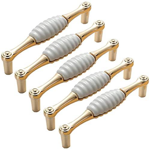 Tiradores de puerta de armario de 5 piezas, tiradores de cajón de armario de aleación de zinc y cerámica, tirador de tirador de armario de tocador, tiradores de armario modernos para armario de cocin
