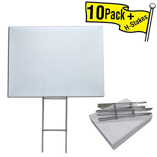 10 Quantity Blank Yard Signs 18x24 with h-stakes for Garage Sale Signs, Graduations, Open House, Estate Sale, or Political Lawn Sign