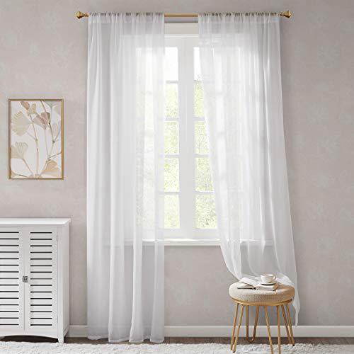 Cortinas blancas ligeras y suaves con barra de paso, cortinas de voile para dormitorio, cortinas transparentes para ventanas pequeñas, de organza, cortas, juego de 2, 175 x 140 cm