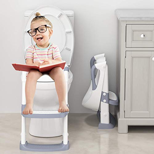 Potty Training Toilet Seat with Step Stool Ladder PU Padded Potty Seat Toddlers Foldable Potty Training Chair Seats with Handles Splash Guard for Kids Boys Girls (Gray)