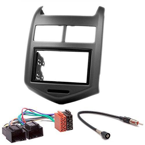 Carav 11–181–6–14de radio Car de 2din en Dash Instalación Kit Set for Chevrolet Aveo, Sonic 2011+/Holden Barina (TM) 2011+ + ISO and Antenna Adapter Cable