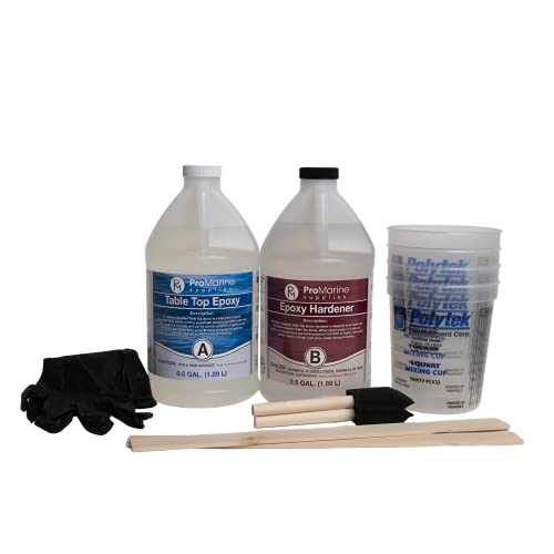 Pro Marine Supplies Crystal Clear Table Top Epoxy Resin & Hardener (2-Part 1 Gallon Combined Kit) with Cups, Brushes, Gloves, Sticks | UV-Resistant Gloss Coating for DIY Bar, Countertops, Woodworking