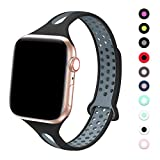 Bandiction Sport Watch Band Compatible with Apple Watch Series 5 38mm 40mm Band, Breathable Soft Sport Silicone Wristband for iWatch Series 5 4 3 2 1 Nike+,Sport,Edition (Black/Grey)