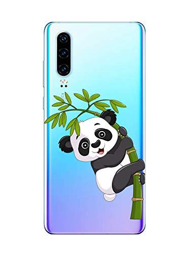 Oihxse Silicone Crystal Coque pour Huawei Nova 5T/Honor 20 Ultra-Thin Transparente Gel TPU Souple Etui Design Motif Mignon Panda Protection Antichoc Housse Bumper (Panda A2)